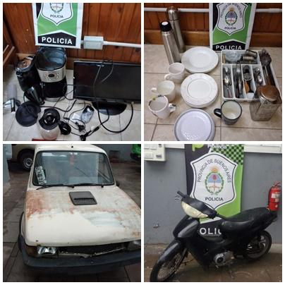Arriba, los elementos recuperados de ambos robos. Abajo el auto de los disturbios en el barrio PyM, y la moto sin documentación.