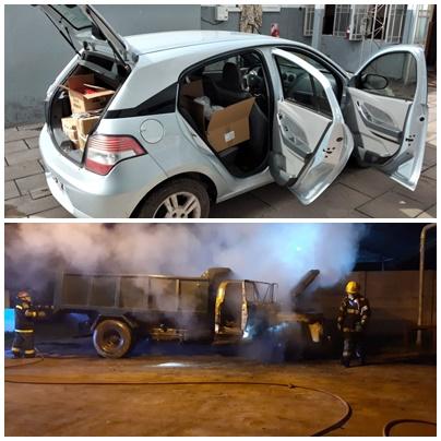 Arriba, el auto en el que llevaban la mercadería robada. Abajo el camión municipal incendiado.